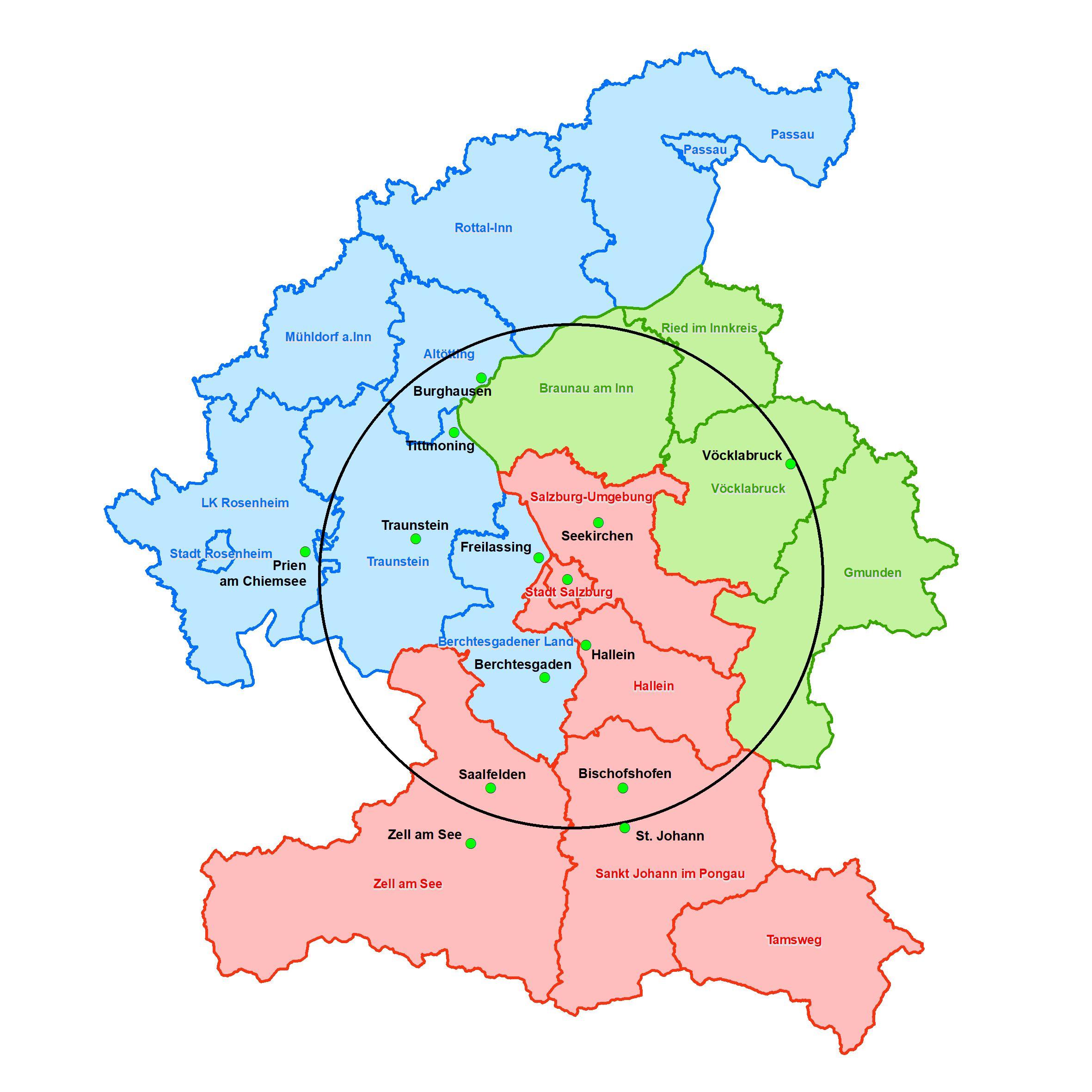 Regionalstadtbahn - Karte EUREGIO-Rat Quelle: SAGIS und Salzburger Regionalstadtbahn